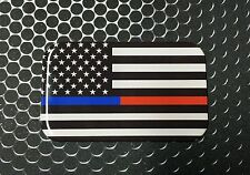 """THIN BLUE & RED LINE Police & FireFighter Honor DOMED decal Sticker 3D 3.1""""x 2"""""""