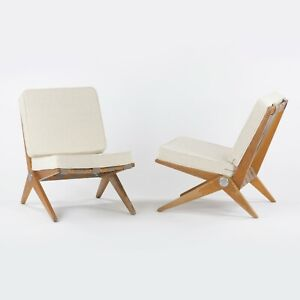 1948 Pair of Pierre Jeanneret for Knoll Associates No. 92 Scissor Lounge Chairs