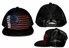 (RARE) Official NIRVANA Logo Smile Smiley Face Flag Trucker Hat Baseball Cap