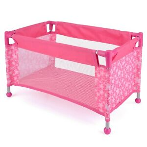 Molly Dolly Dolls Toy Travel Cot Bed Crib & carry bag With Storage Bag Pink Polk