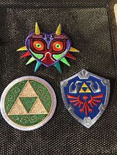 3 Legend of Zelda Embroidered Patch Sew On Majora's Mask Master Shield Triforce