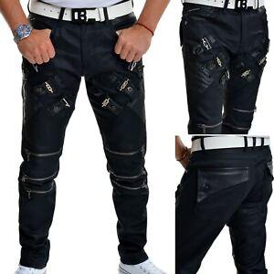Men's Designers Cipo & Baxx Black Jeans Waxed Leather Metal Zipps Regular Fit