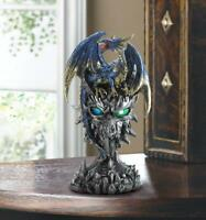 medieval BLUE winged Dragon death ice skull throne Statue LED night light lamp