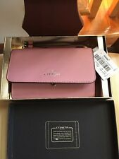 Coach Leather Phone Clutch/Wallet/Wristlet in Pink /Silver in Gift Box