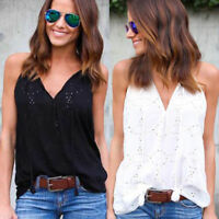 Women Ladies Camisole Summer Hollow Out Strappy Swing Vest Top V Neck Sleeveless