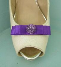 2 Small Purple Bow Clips for Shoes with Glittery Button Centre
