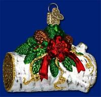 YULE LOG OLD WORLD CHRISTMAS BLOWN GLASS DECORATED LOG HOLLY ORNAMENT NWT 36067