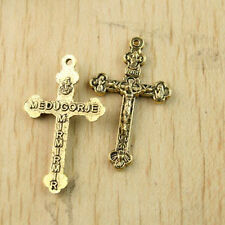 10pcs dark gold-tone cross lead to free findings h1322