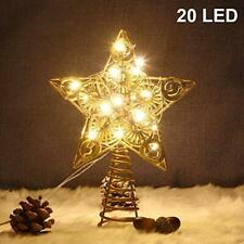 Juegoal Star Tree Topper with 20 Led Lights, Gold Lighted Treetop Christmas Tree