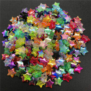DIY 11*11mm Five-pointed Star Acrylic Spacer BeadsTransparent Rainbow Beads
