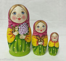 Matryoshka Russian Wooden Nesting Dolls - 3 Pieces Unique Coloring Set #4