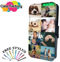 PERSONALISED CUSTOM PHOTO COLLAGE DESIGN LEATHER WALLET FLIP PHONE CASE COVER