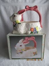 Easter Ceramic Bunny/Rabbit Candy Basket Collectibles New withTags in Box