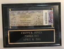Chipper Jones 2500th Hit game ticket Atlanta Braves on wall plaque with COA