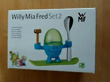 WILLY MIA FRED SET 2 EGG CUP EGGCUP HAMMER SPOON SKATEBOARD SET BLUE AND GREEN