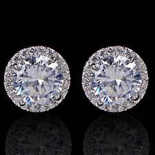 925 Argento Sterling Donne bianco cristallo zircone orecchio orecchini gioielli