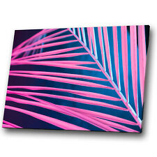 Leaves Pink Blue Nature Abstract Canvas Wall Art Large Picture Prints