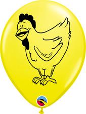 "5 x Children's Farm Animals CHICKEN 11"" Latex Balloons (Qualatex Helium)"