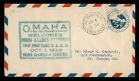 DR WHO 1929 FIRST FLIGHT CAM 28 OMAHA NE STATIONERY TO ST JOSEPH MO 182801