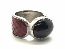 Sterling Silver 925 Oval Black Onyx / Red Snake Leather Band Cocktail Ring 6.75