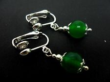 A PAIR OF SHORT GREEN JADE BEAD  DROP CLIP ON EARRINGS. NEW. 8MM.