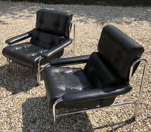FINE PAIR OF PIEFF CHROME AND LEATHER ARMCHAIRS