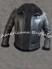 Da Uomo B3 Bomber Aviatore Volo nero pelliccia in montone shearling leather jacket