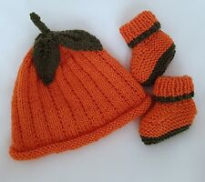 Knitting Pattern DK 74 TO KNIT Pumpkin Patch Baby Hat & Booties in TWO SIZES
