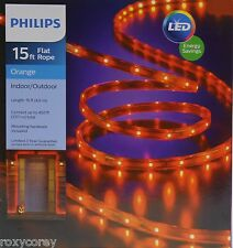 Halloween Philips 15 ft Orange Flat Rope Lights Indoor/Outdoor NIB