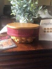 Longaberger 2001 Hostess Sage Booking Basket, Lid, Paprika Liner, Protector