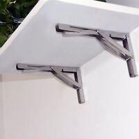 """Pair-12"""" Stainless Steel Folding Table Bracket Shelf Bench 250kg Load Heavy Duty"""