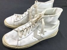 Vintage Converse All Star Shoes Hi Top Pro Star Sz 7.5 White As Is Leather Og