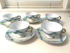 5 Sets of Vintage Fine Porcelain Austrian Cups & Saucers Blue Garlands Gold Trim