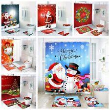 4PCS Christmas Bathmats Set Toilet Cover Bathroom Mat Rugs Bath Cover WC Cushion