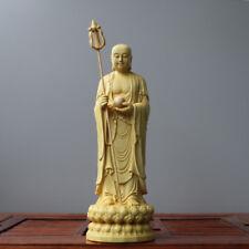 Boxwood handwork carving Ksitigarbha Bodhisattva on Lotus base figure statue