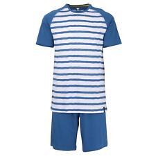 Tom Tailor  Herren Pyjama Schlafanzug kurz Shorty Gr. 52/L blau weiß gestreift