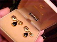 GORGEOUS NEW 14K GOLD by CARLA Genuine ONYX Bow & Dangle Pierced EARRINGS 3.2 gr