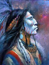 Original Oil painting Native American Indian BLUE SHAMAN Medicine Western ART