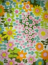 VTG. MID CENTURY 1960's TEXTILE BRIGHT MODERNIST FLOWER GARDEN PRINT, 6 YDS, NOS