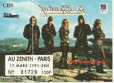 RARE / TICKET BILLET DE CONCERT - JUDAS PRIEST : LIVE A PARIS ( FRANCE ) 1991