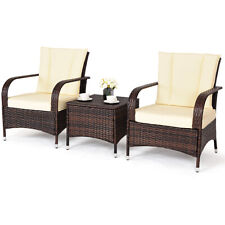 3PCS Outdoor Patio Mix Brown  Rattan Wicker Furniture Set Seat Cushioned Beige