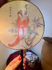 Vintage Asian Japan Silk Screen Fan Hand Painted