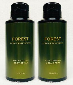 2 Bath & Body Works FOREST FOR MEN Deodorizing Body Spray Mist Perfume 3.7 oz