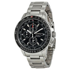 NEW MENS SEIKO SOLAR FLIGHTMASTER ALARM CHRONOGRAPH SPORTS WATCH SSC009P1