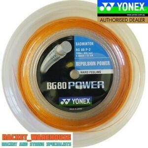 YONEX BG80 POWER 200M COIL BADMINTON RACKET STRING ORANGE COLOUR