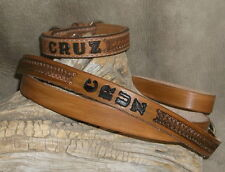 "Custom 1"" Leather Dog Collar and Leash Set Personalized With Your Dogs Name. G&E"