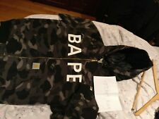 Bape x Carhartt Black & Grey Camo Jacket With Hood