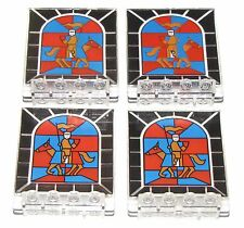LEGO LOT OF 4 STAINED GLASS 2 X 5 X 5 DOOR KNIGHT CASTLE PIECES