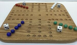 """GREAT GIFT 12"""" WOOD OAK AGGRAVATION MARBLE GAME BOARD  2-4 PLAYER  Double Sided"""