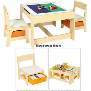 Kids Table and 2 Chair Set Toddler Play Activity Lego Block Desk with Storage